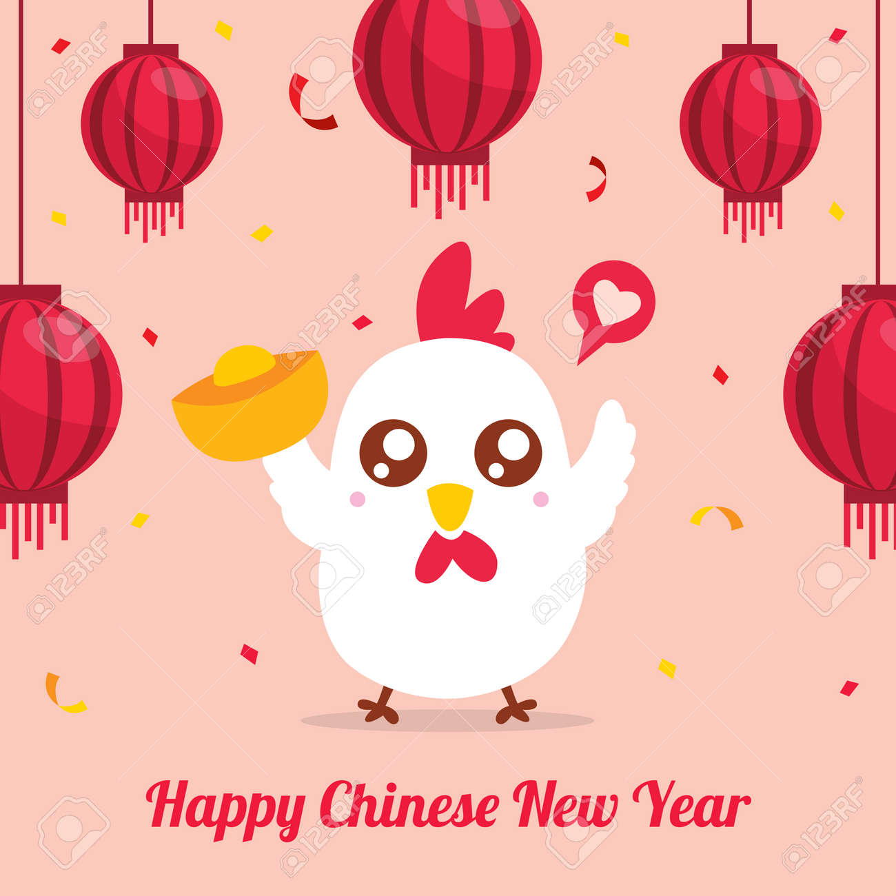 Chinese Rooster Greeting Card - 62920297