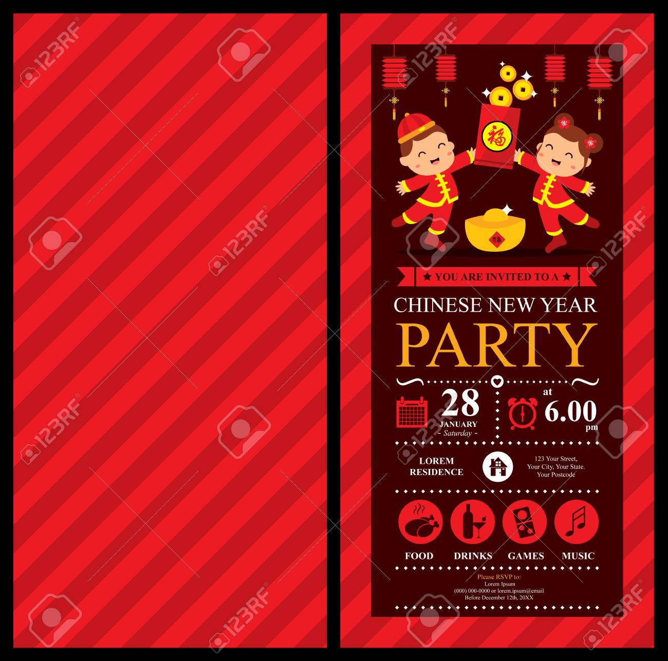 chinese new year invitation card stock vector 67475902