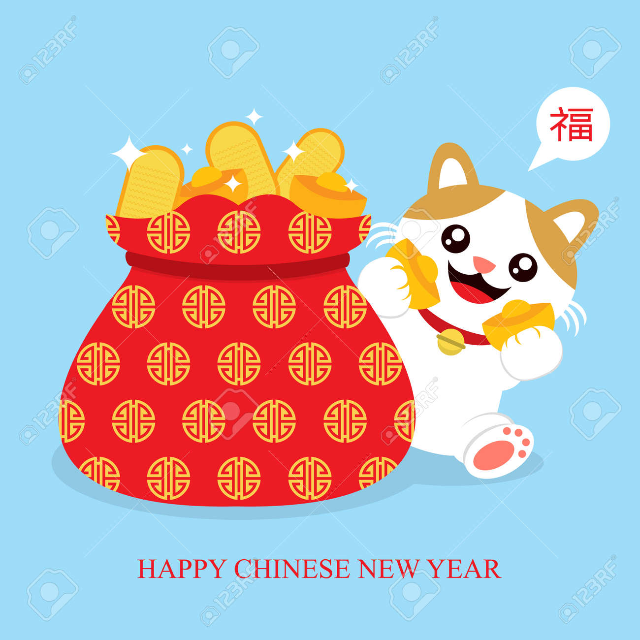maneki neko lucky cat card - 69807975