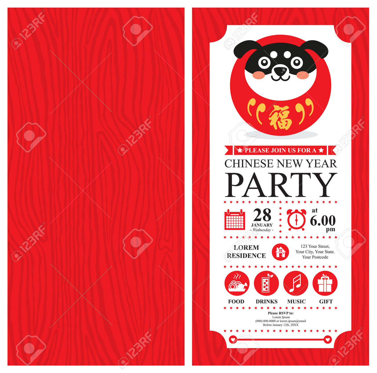 Chinese New Year Invitation Card Design Vector