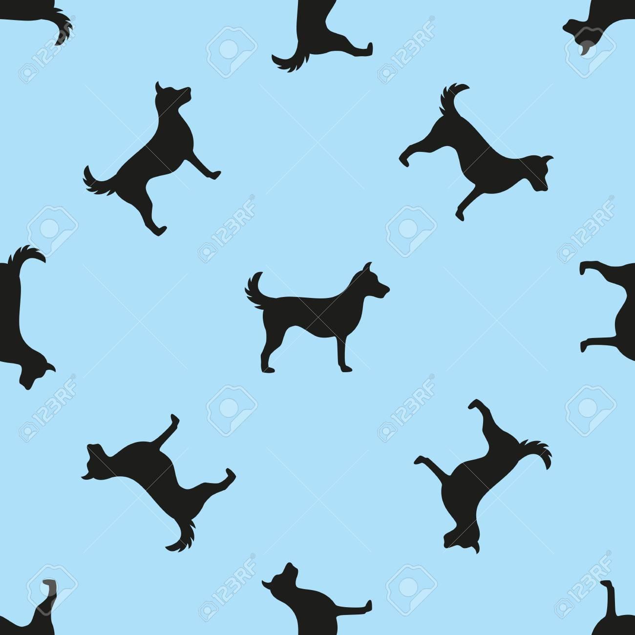 Dogs Wallpaper Pattern On Blue Background Vector Illustration