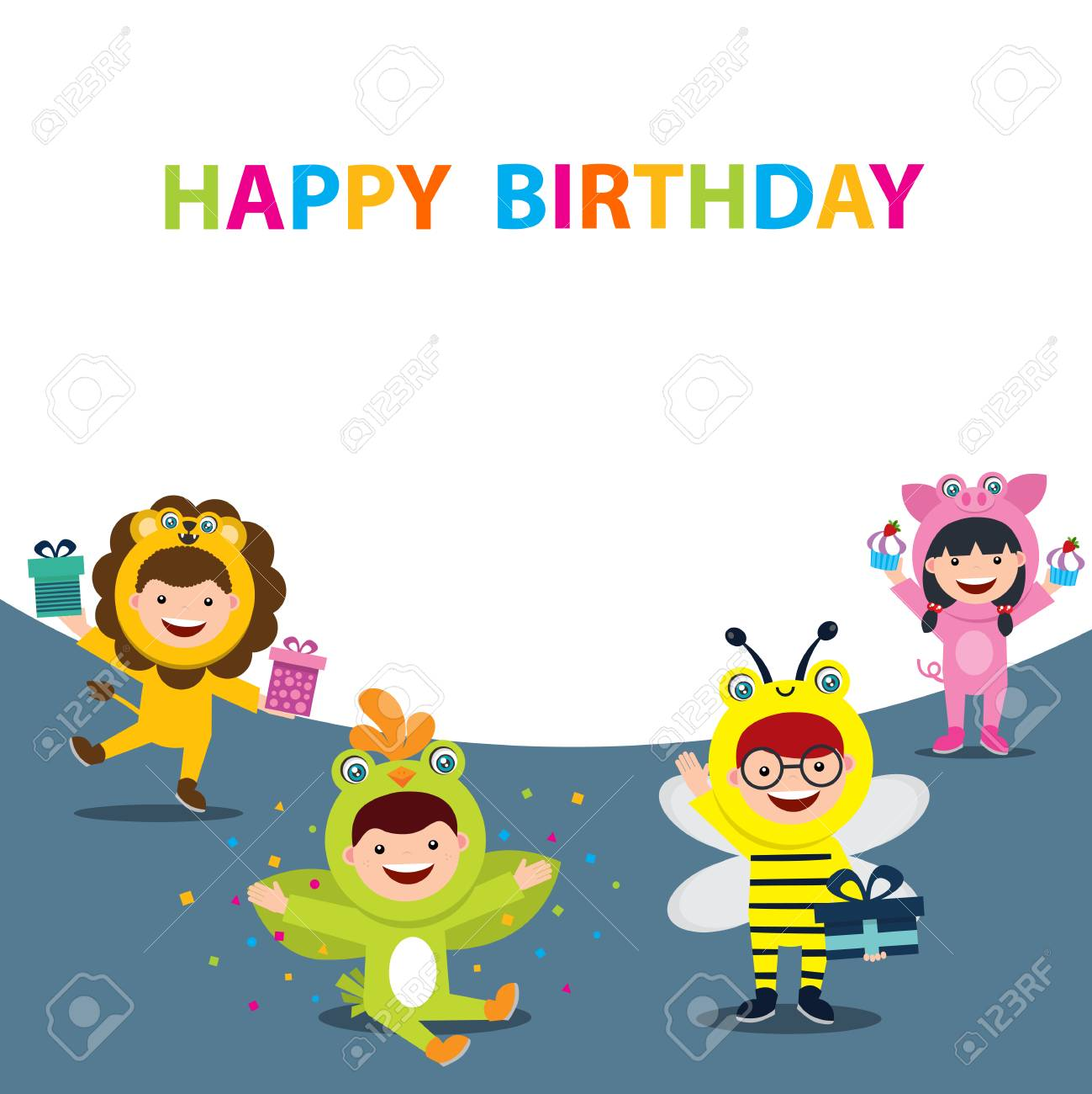 Incredible Happy Birthday Card With Kids In Animal Costume Royalty Free Funny Birthday Cards Online Fluifree Goldxyz