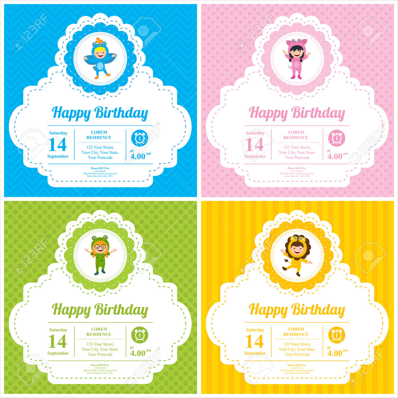 Birthday card with kids in animal costume - 96836973