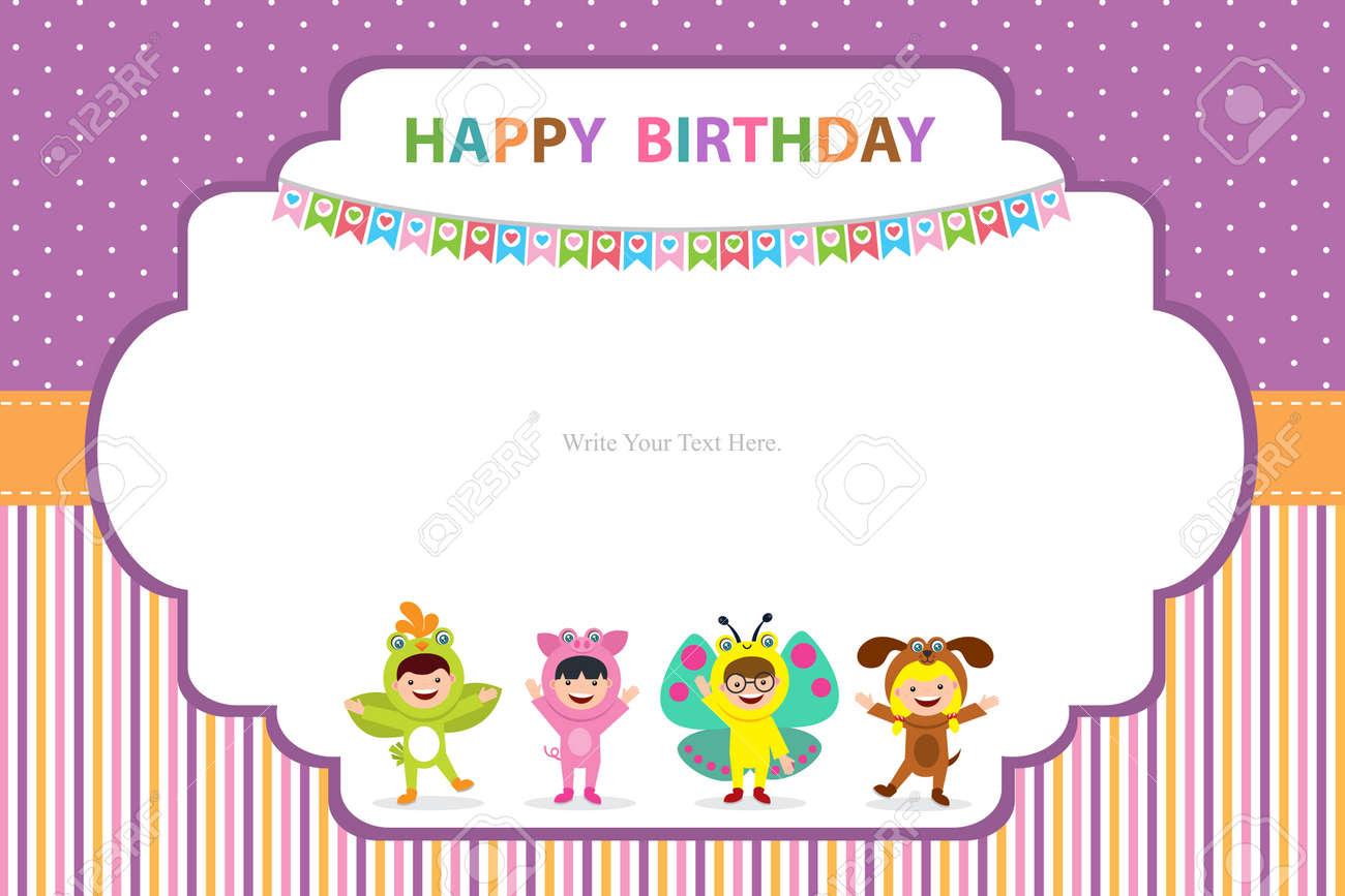 Birthday Card Template   Birthday Card Template With Kids In Animal Costume Royalty Free