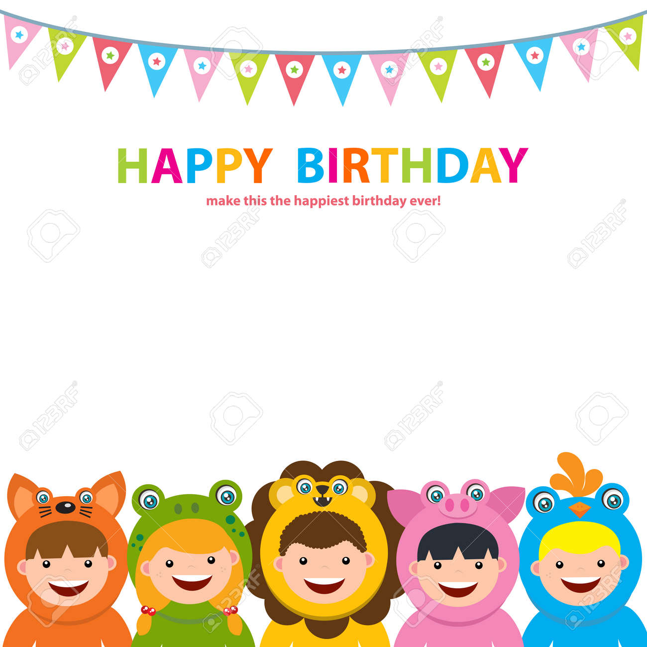 Fine Birthday Card Template With Kids In Animal Costume Royalty Free Funny Birthday Cards Online Fluifree Goldxyz