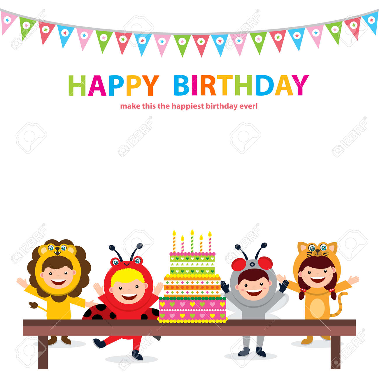 Cool Birthday Card Template With Kids In Animal Costume Royalty Free Funny Birthday Cards Online Fluifree Goldxyz
