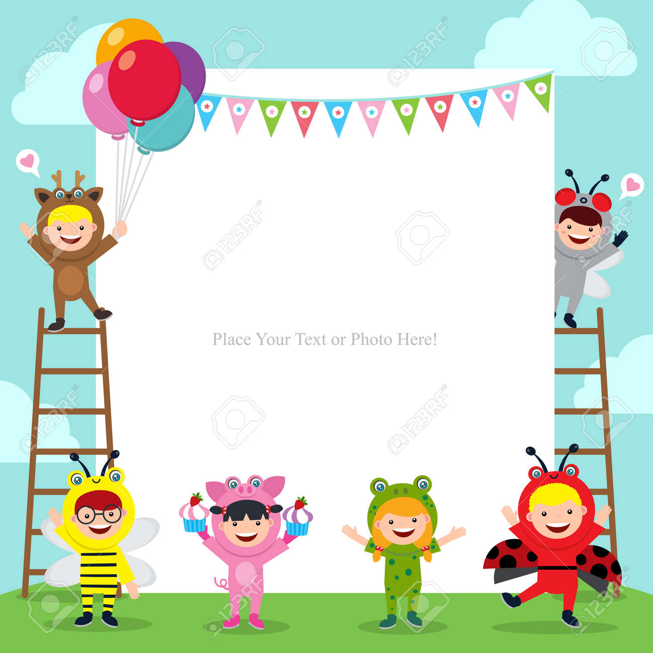 Terrific Birthday Card Template With Kids In Animal Costume Royalty Free Personalised Birthday Cards Paralily Jamesorg