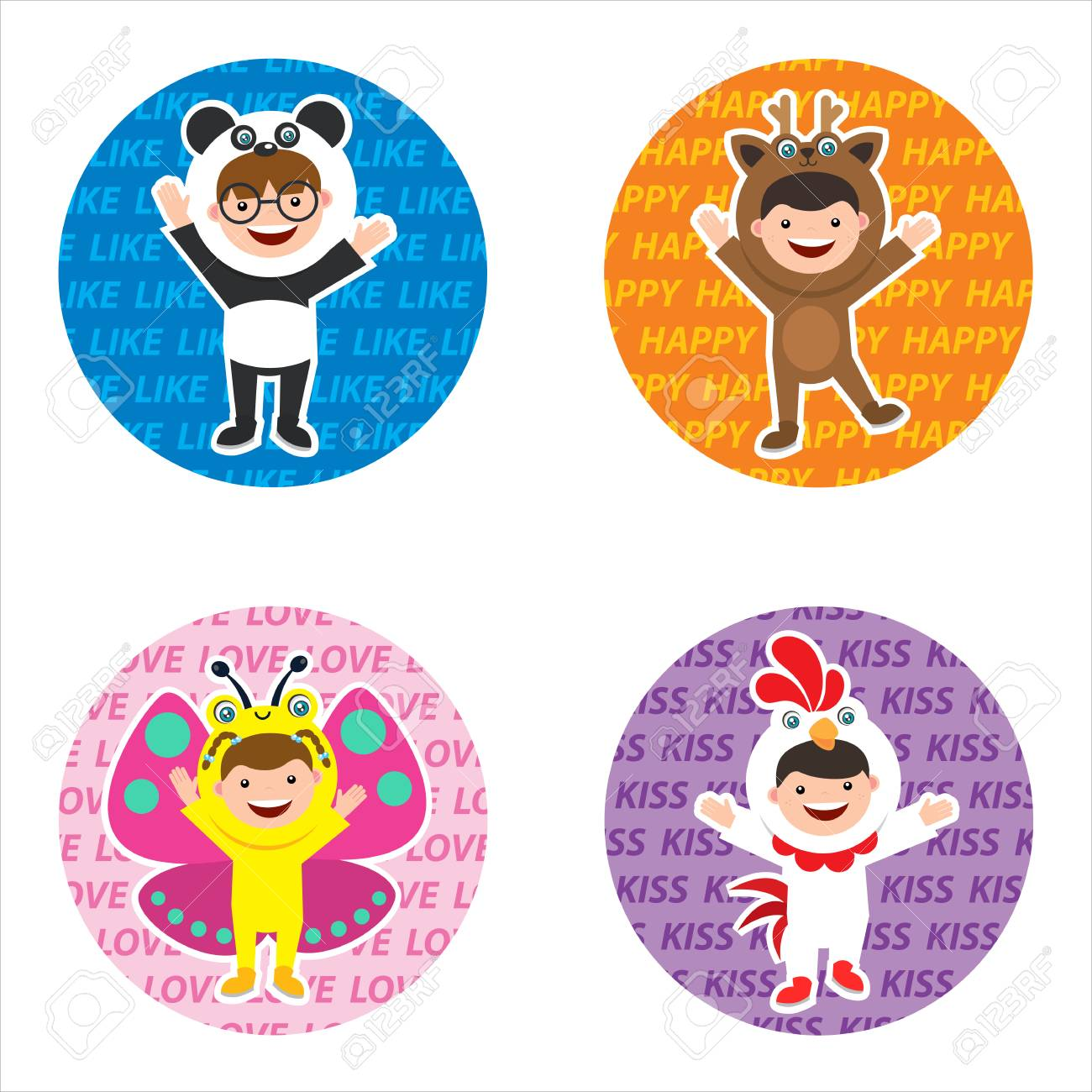 Sticker with kids in animal costume stock vector 97635159