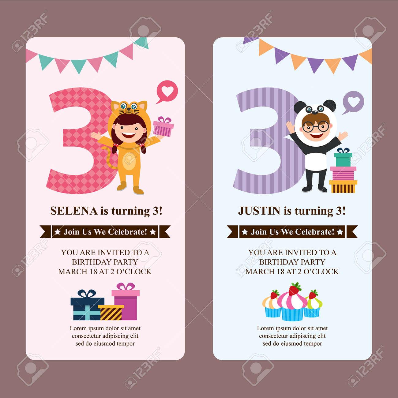 Birthday Card Invitation With Kids In Animal Costume Standard Bild