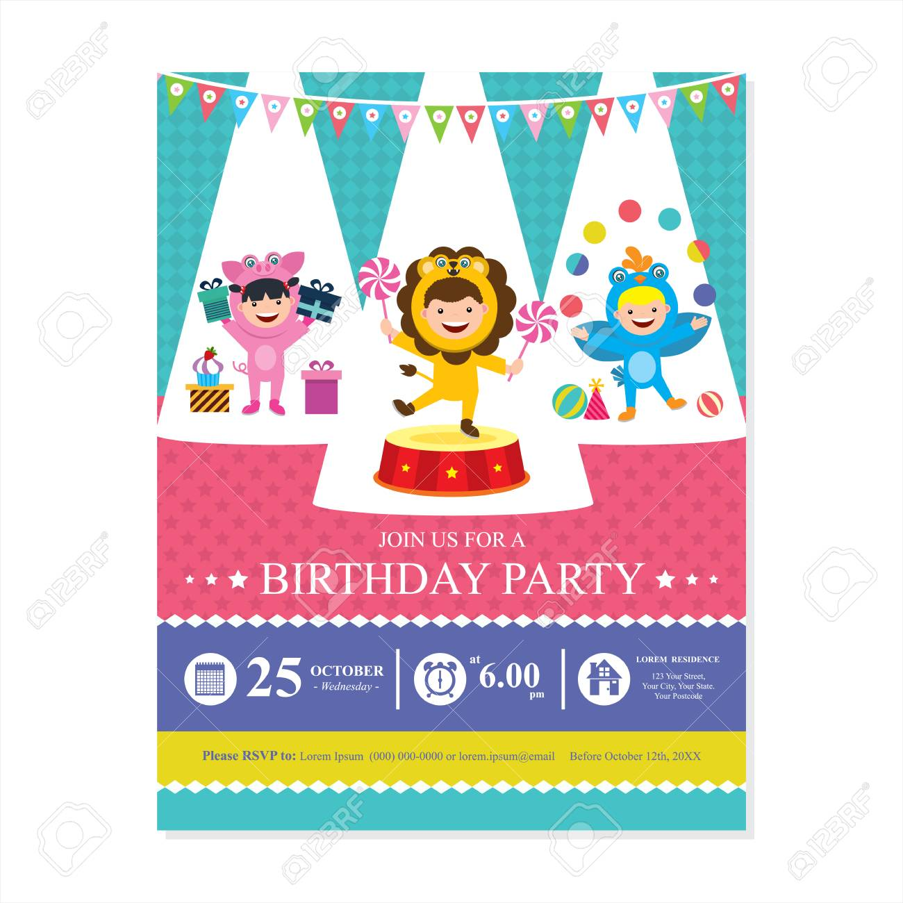 Birthday Card Invitation With Kids In Circus Costume Stock Vector
