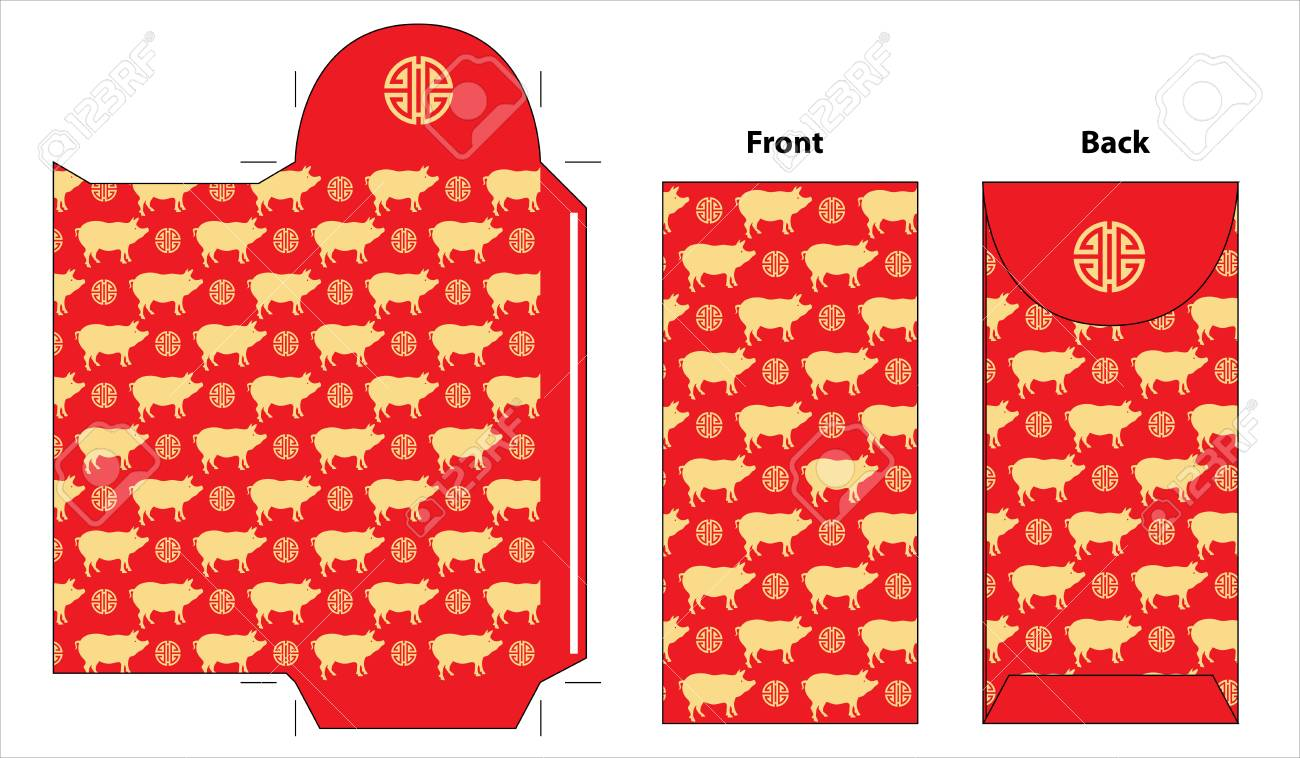 Chinese new year envelope template with cute pig pattern stock vector 113356442