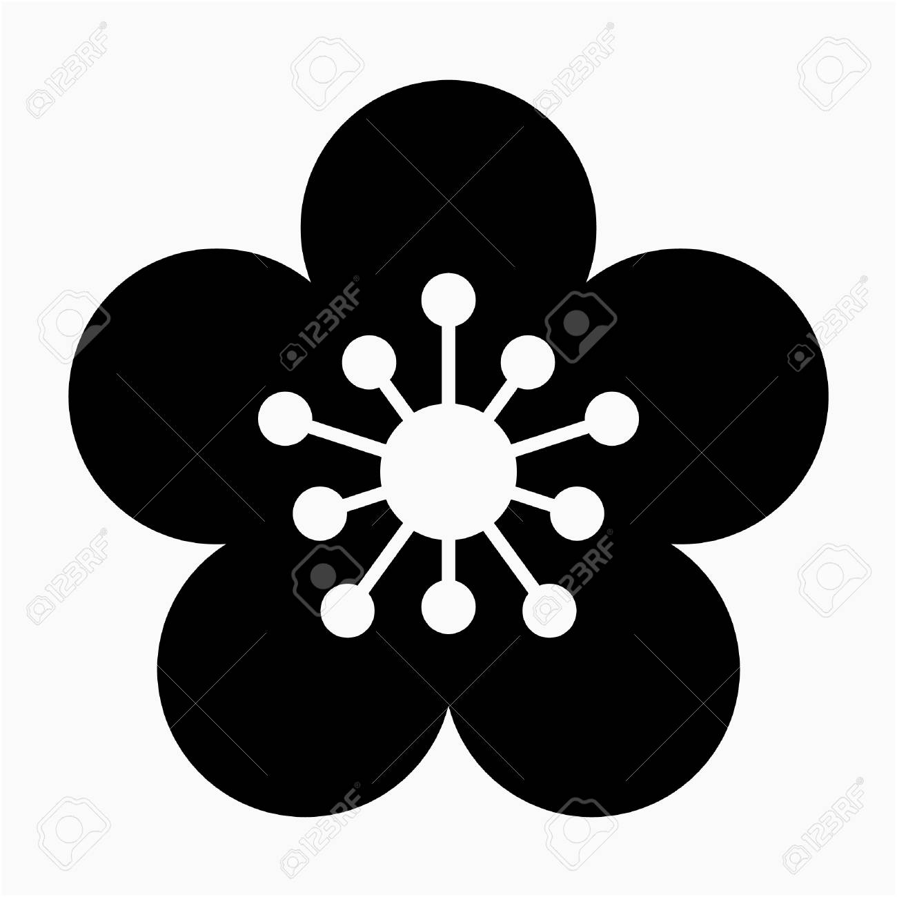 glyph Apricot Blossom flower pixel perfect vector icon - 111941127