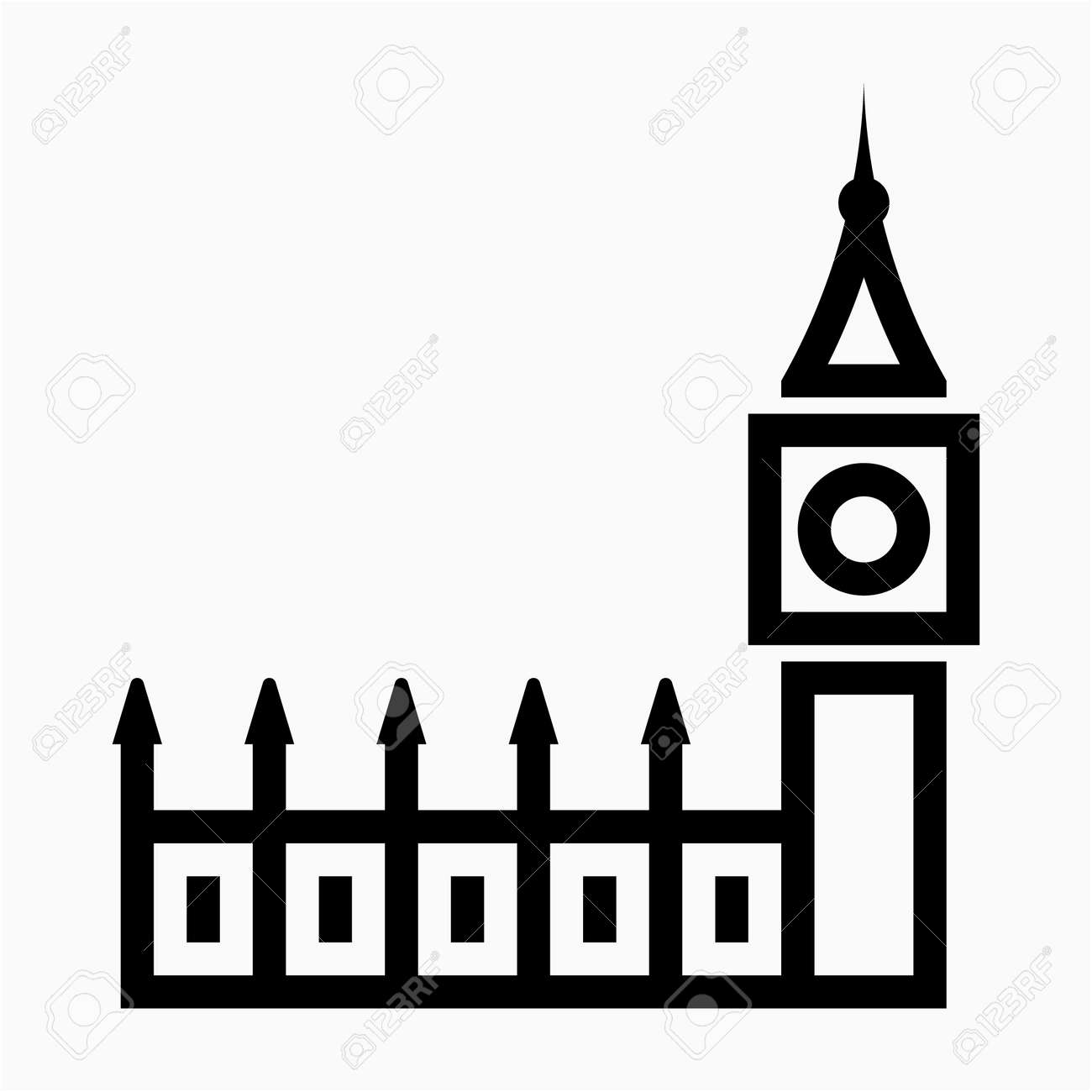 Outline London England Big Ben Pixel Perfect Vector Icon