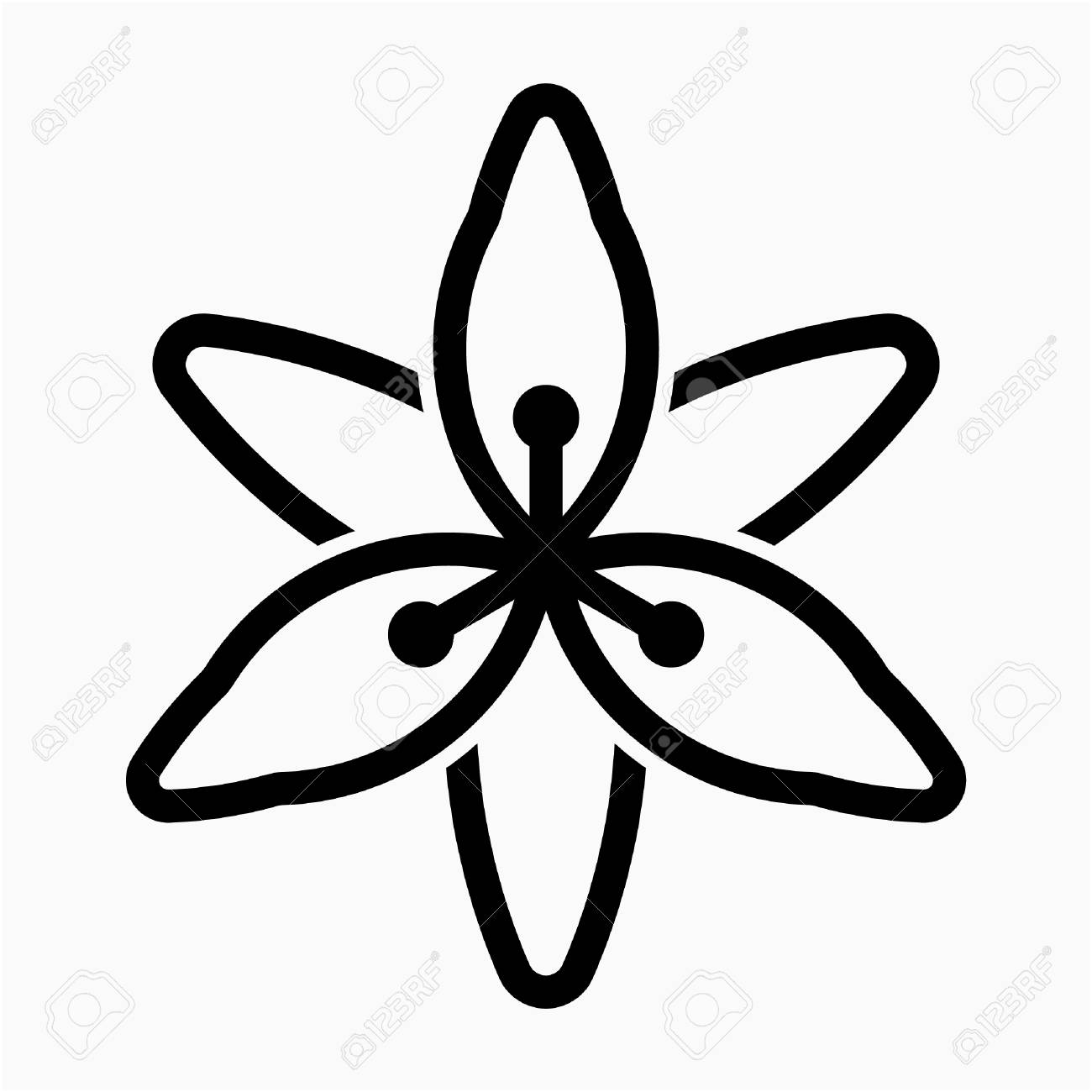 Outline Lily Flower Pixel Perfect Vector Icon Royalty Free Cliparts