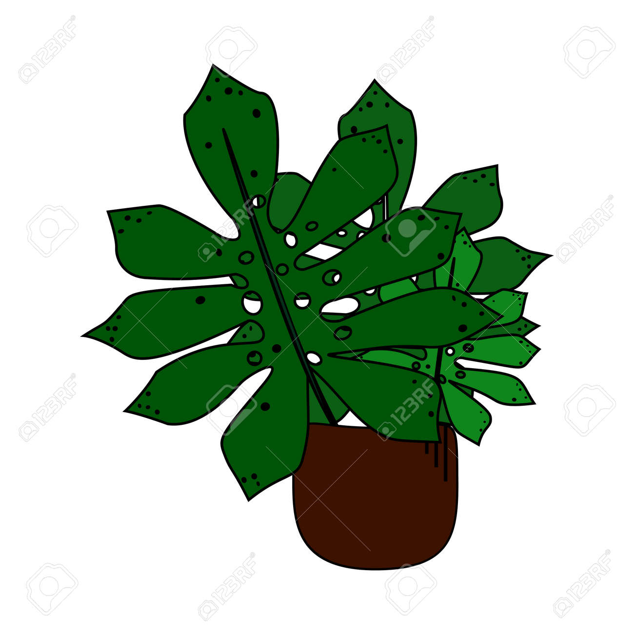 Cute Exotic Dark Green Plant With Big Leaves In Pot Cartoon Style Royalty Free Cliparts Vectors And Stock Illustration Image 93941323