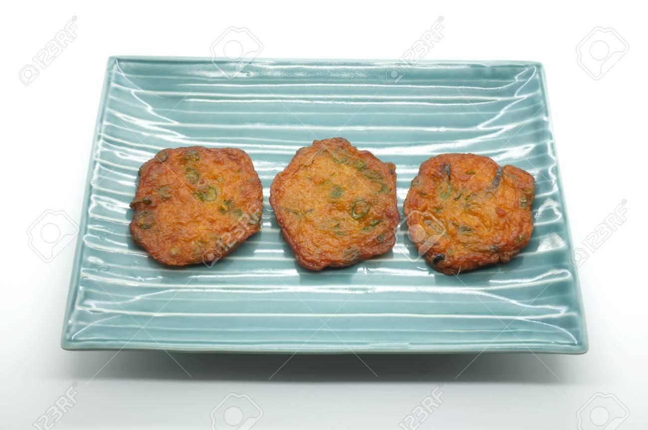 Fried Fish Patty, Spicy Fish Ball On Ceramic Dish, Thai Food Stock ...