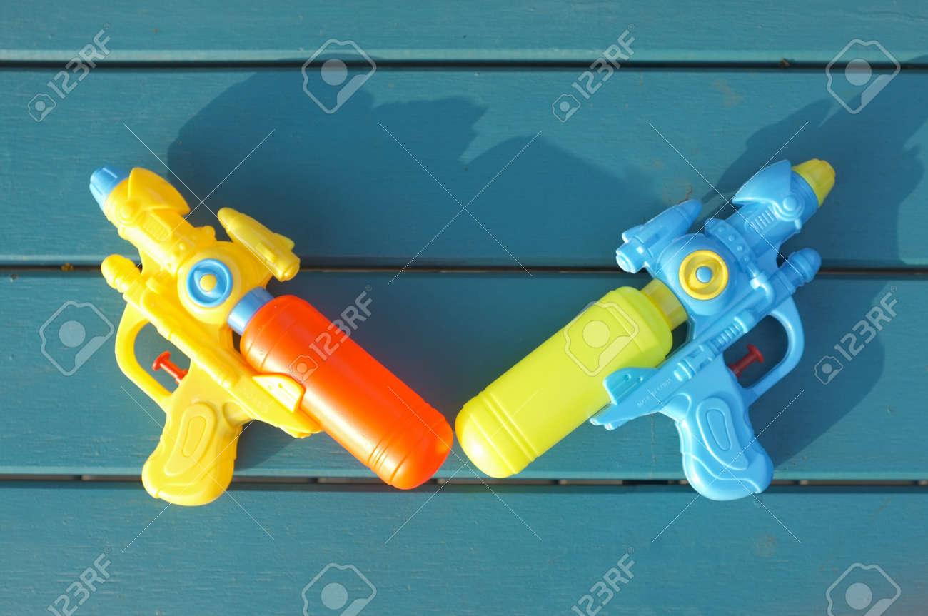 Plastic water gun . Concept Songkran Festival : Thai Water Festival - 124718989