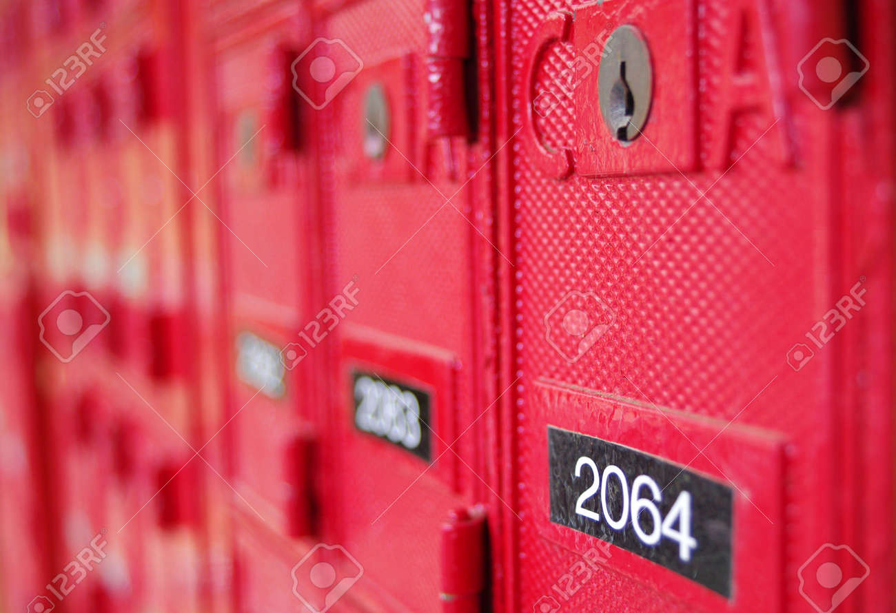 Red Post Office Box with numbers Stock Photo - 7016509