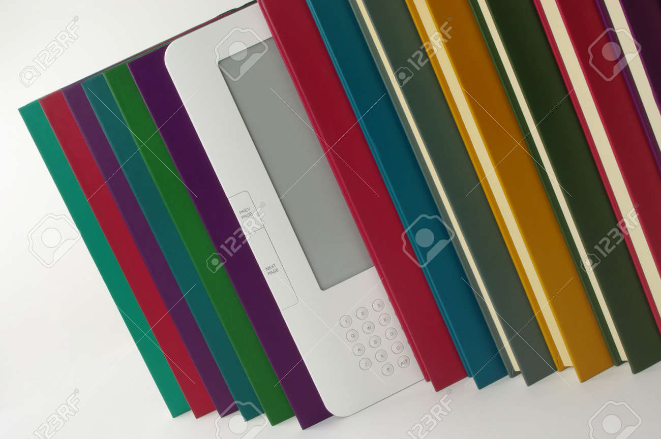 coloured books and e book in a row Stock Photo - 10750809