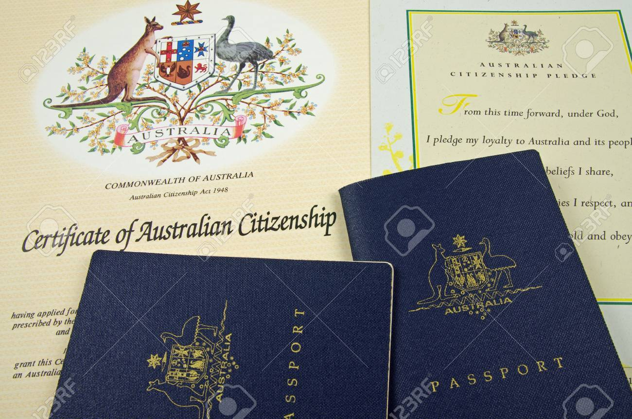 Passport And Citizenship Certificate And Pledge Stock Photo Picture