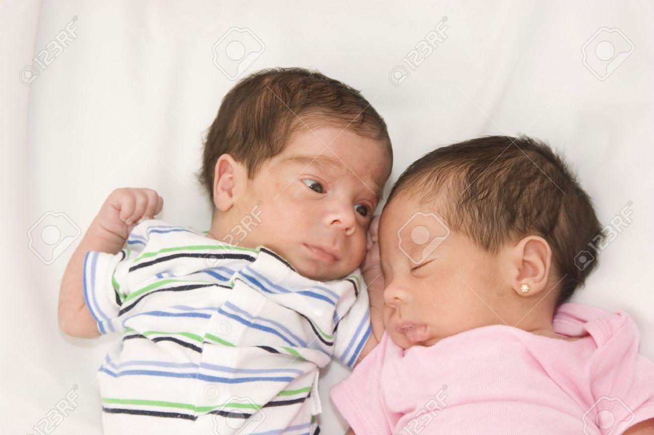 Newborn Hispanic Baby Girls Portrait of twin babies boy