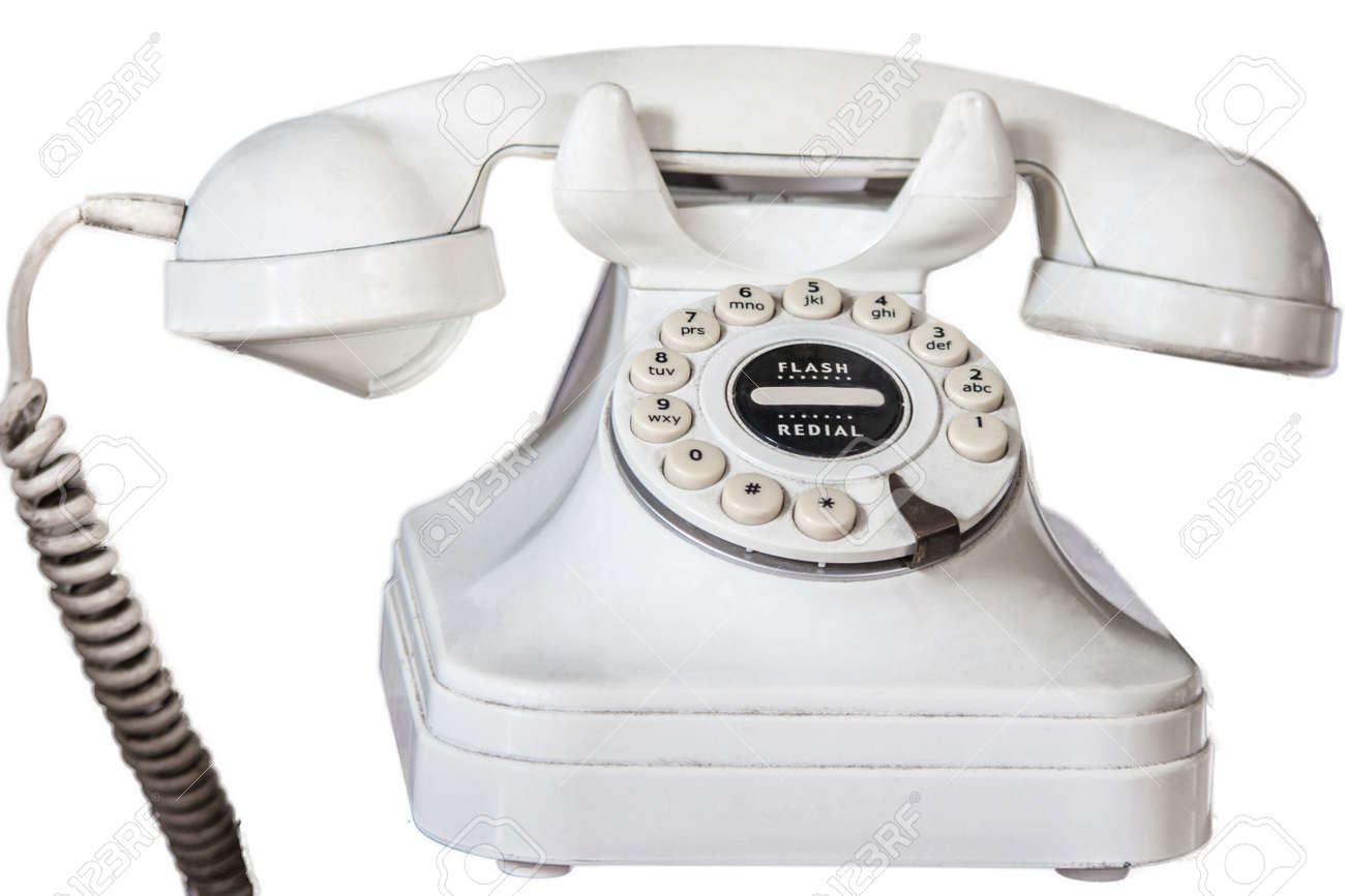 Old Fashioned Telephone With Rotary Dial isolated On A White Background Stock Photo - 16391590