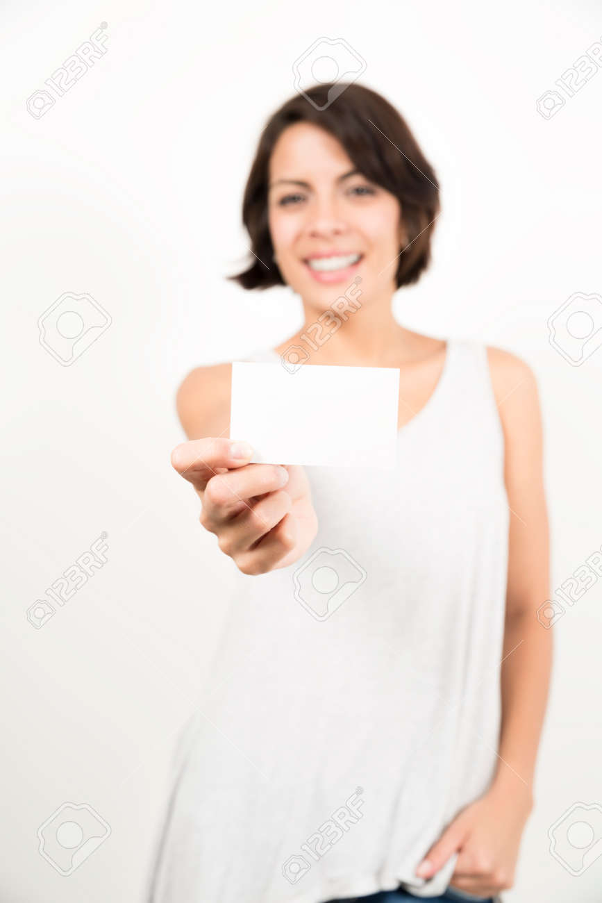 happy woman holding business card for your text stock photo picture