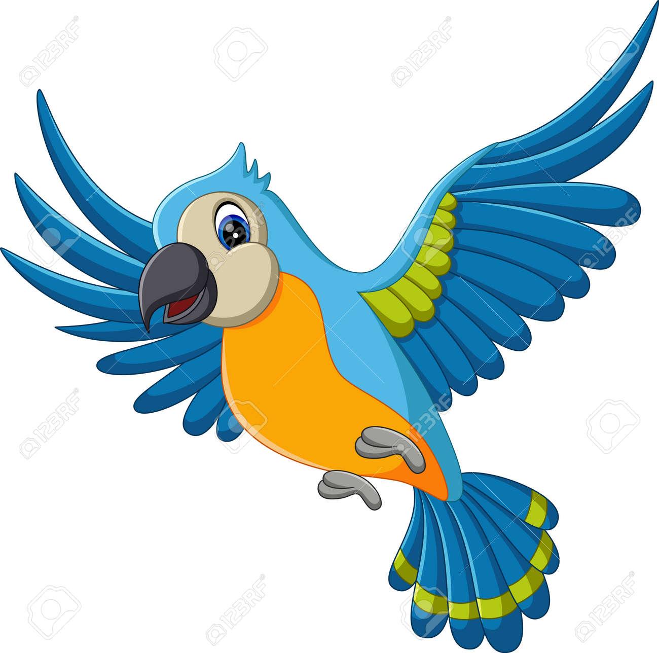 illustration of Cartoon macaw flying - 51918792
