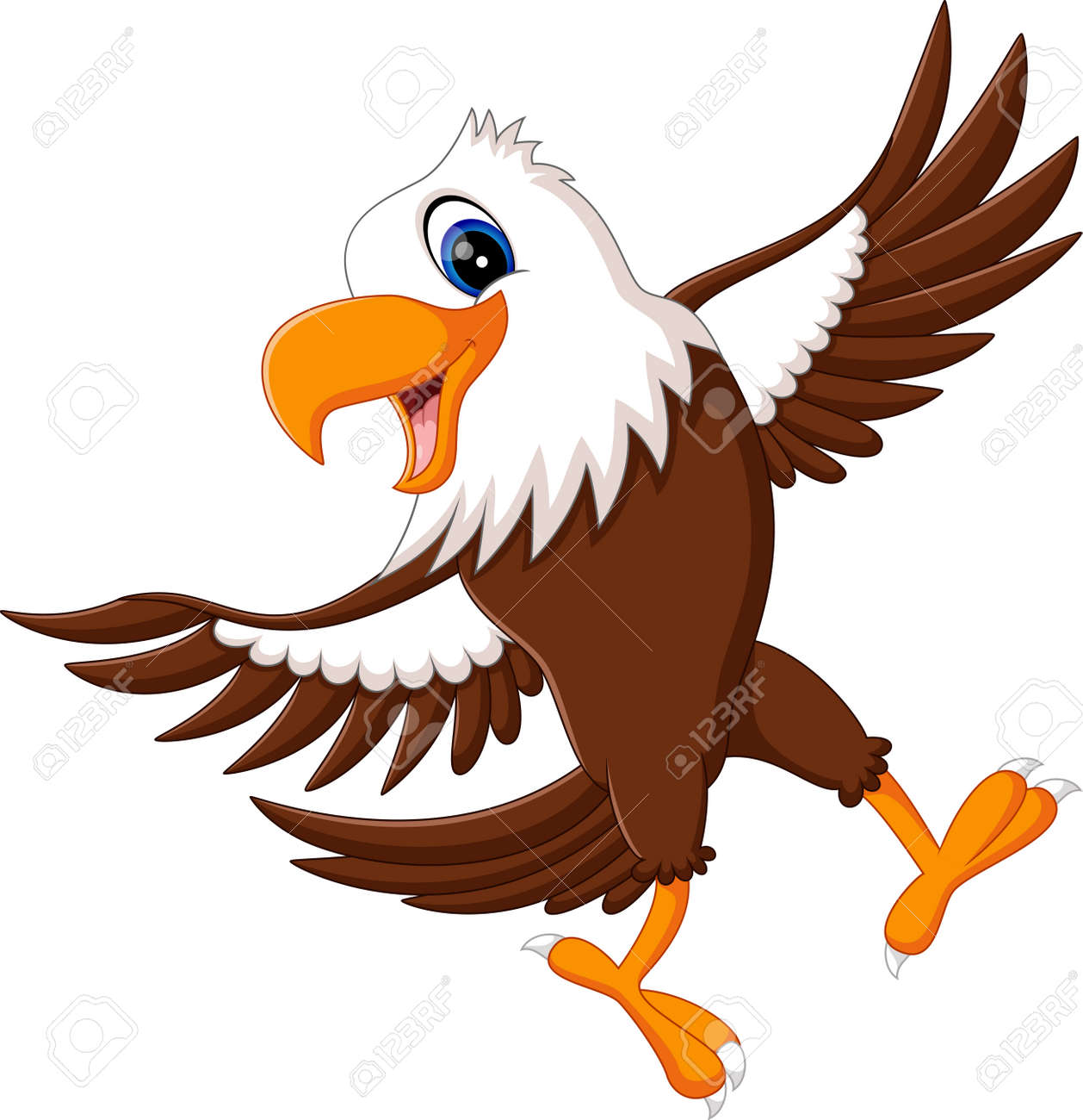 cartoon bald eagle standing with wings extended stock photo picture rh 123rf com cartoon bald eagle cute cartoon bald eagle pictures
