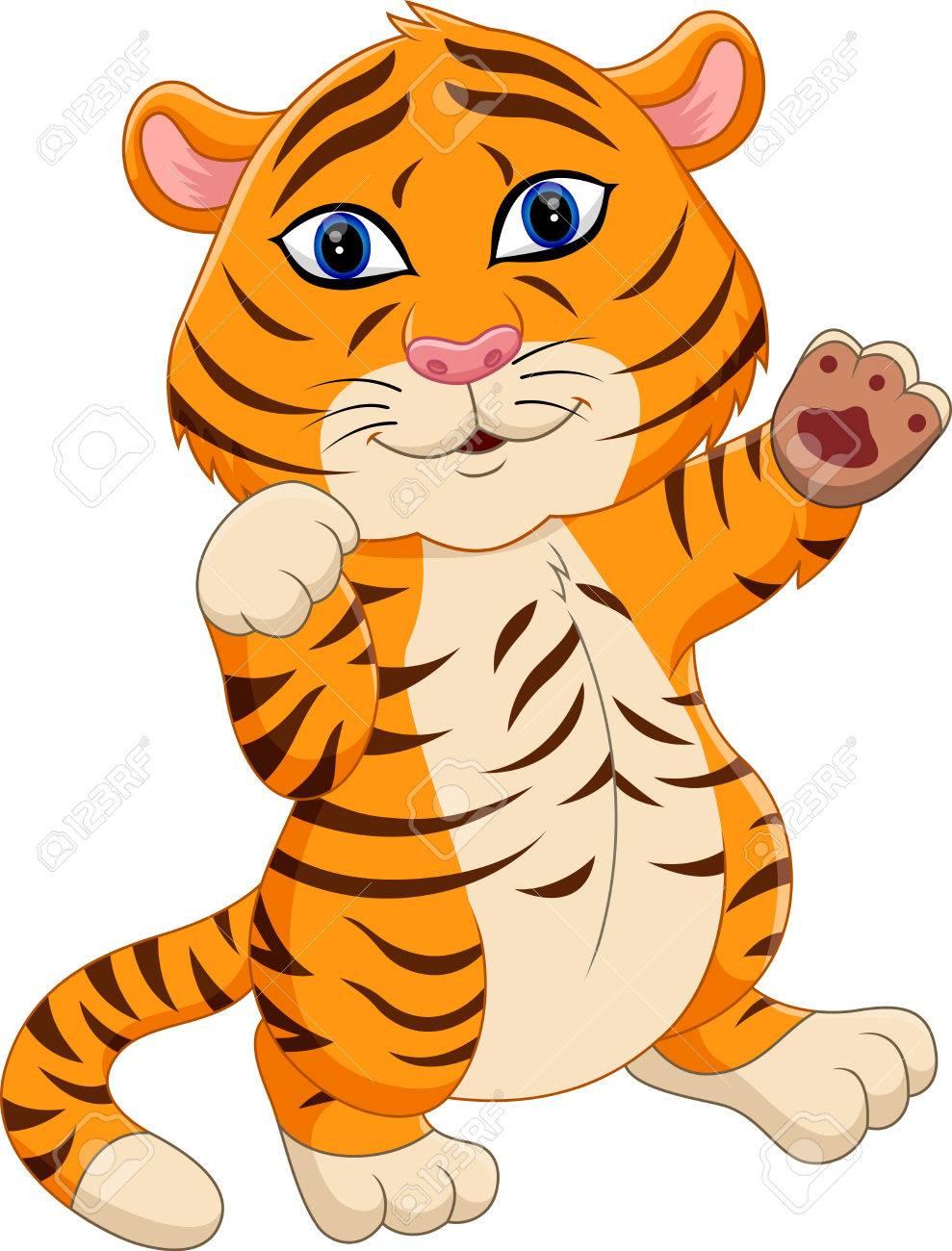 Ilustración De Dibujos Animados Tigre De Bebé Lindo Ilustraciones ...
