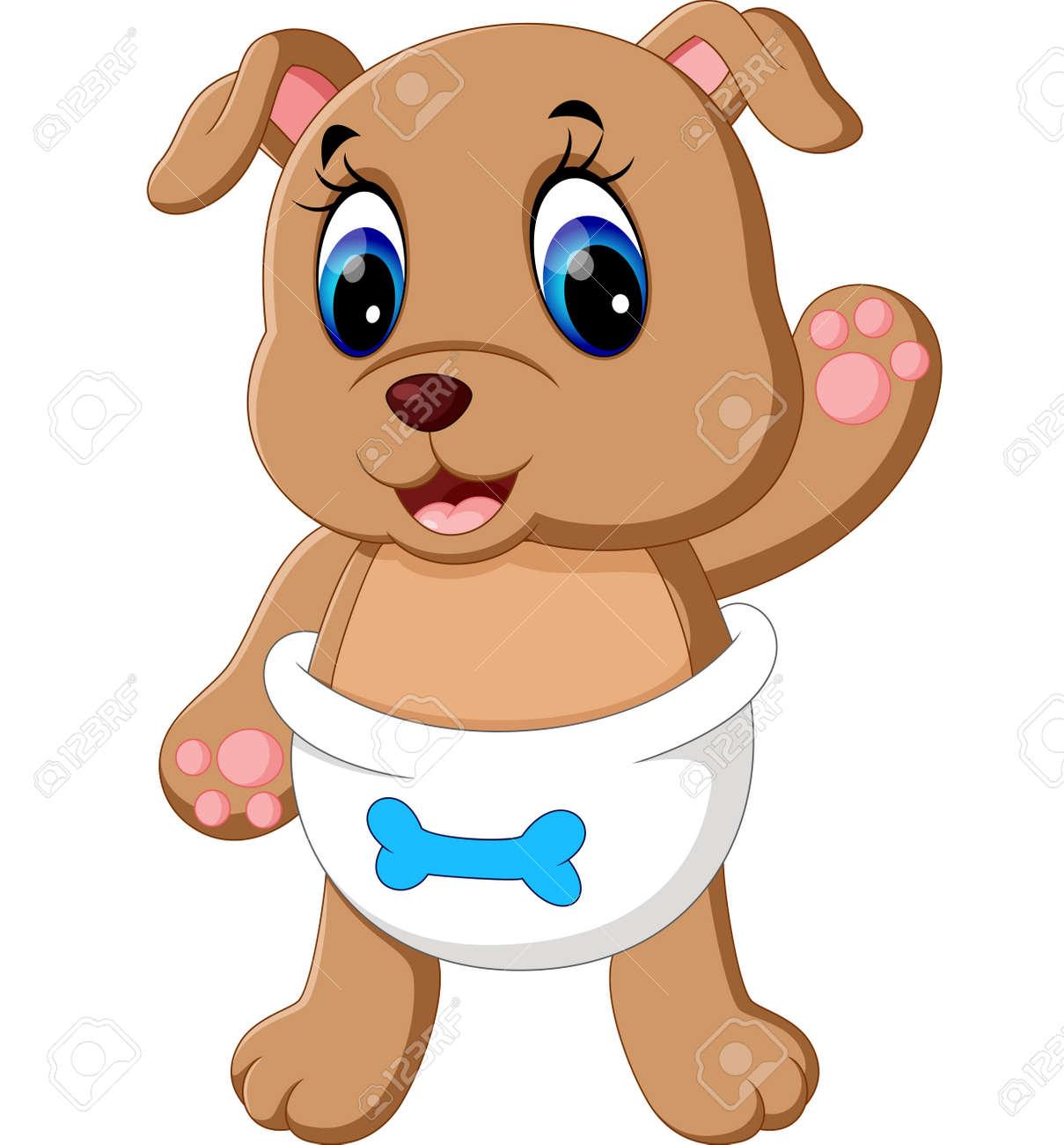 Ilustración De Dibujos Animados De Perro Lindo Del Bebé