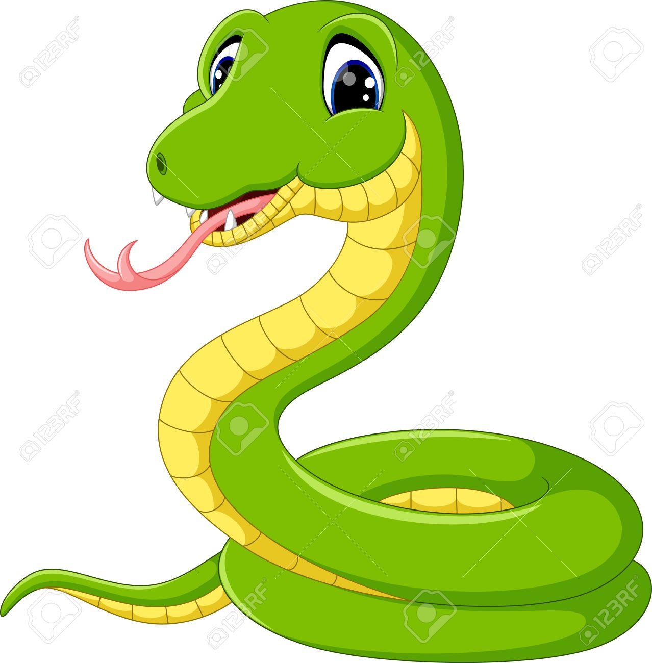 Cute green snake cartoon - 58514373
