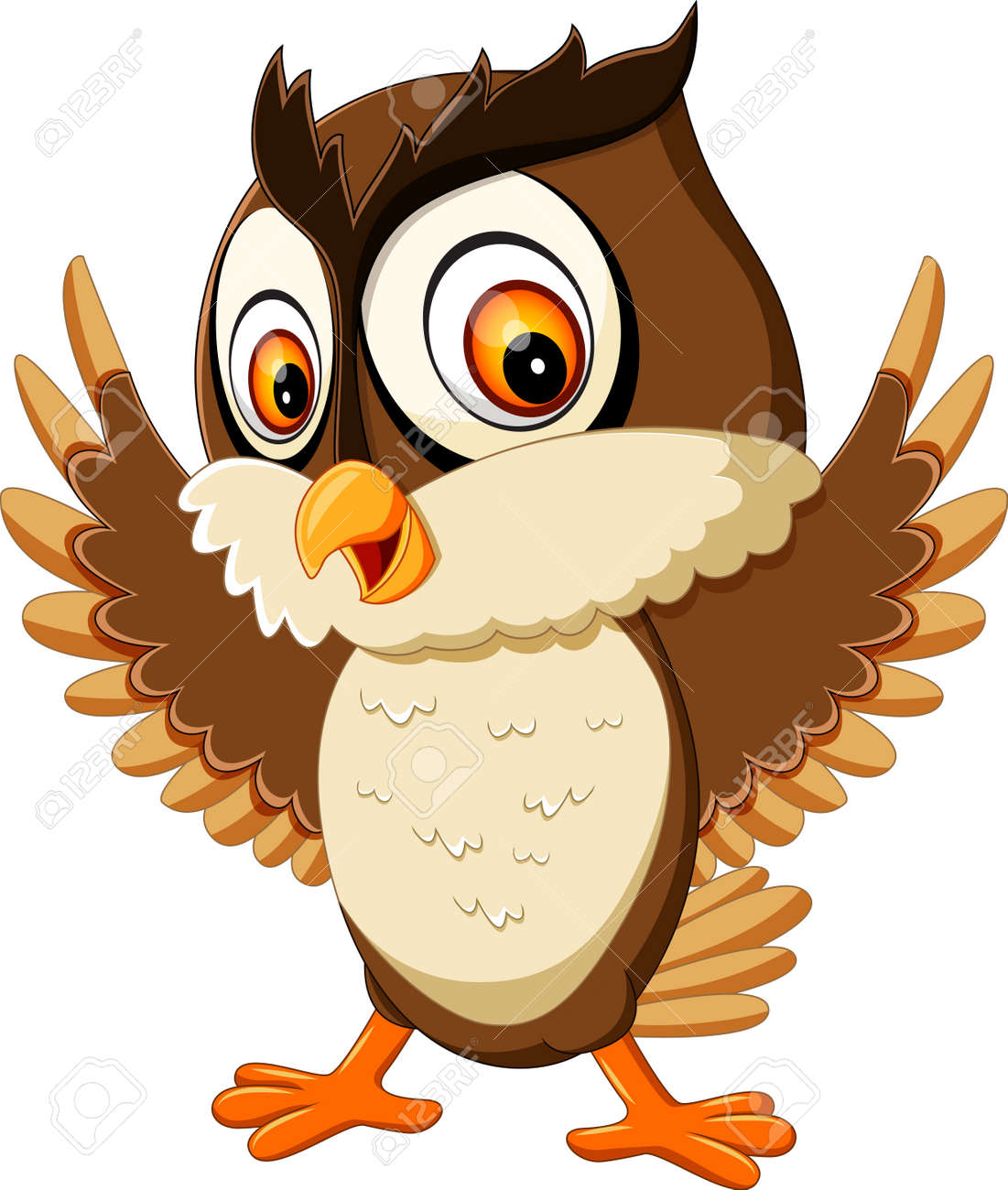 happy cute owl cartoon stock photo picture and royalty free image
