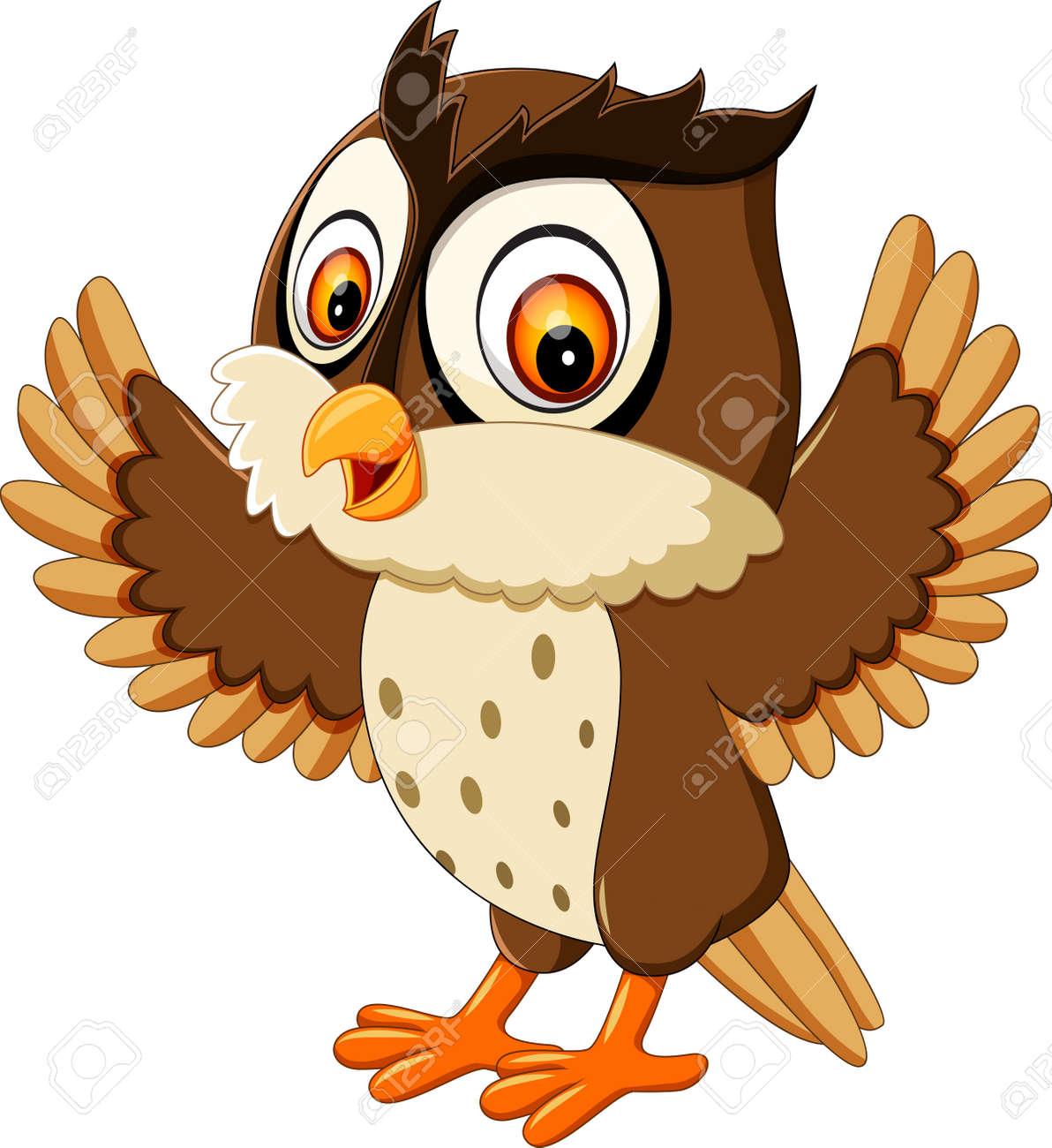happy cute owl cartoon - 60190578