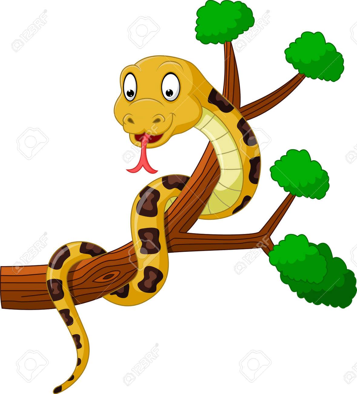 de dibujos animados serpiente marrón en la rama ilustraciones