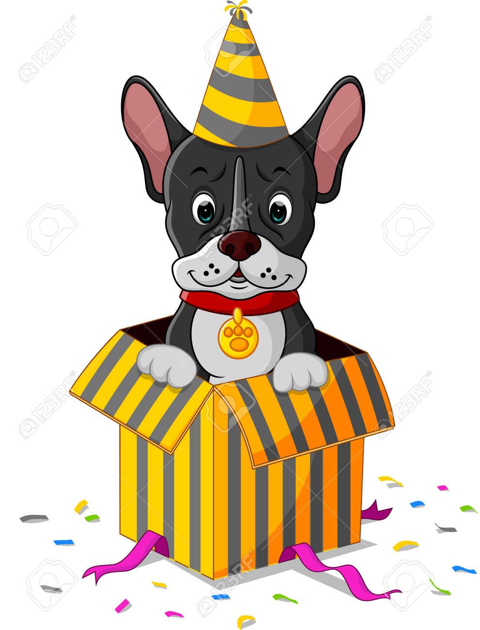 Dog cartoon coming out of gift box dog cartoon coming out of gift box 66539776 negle Image collections