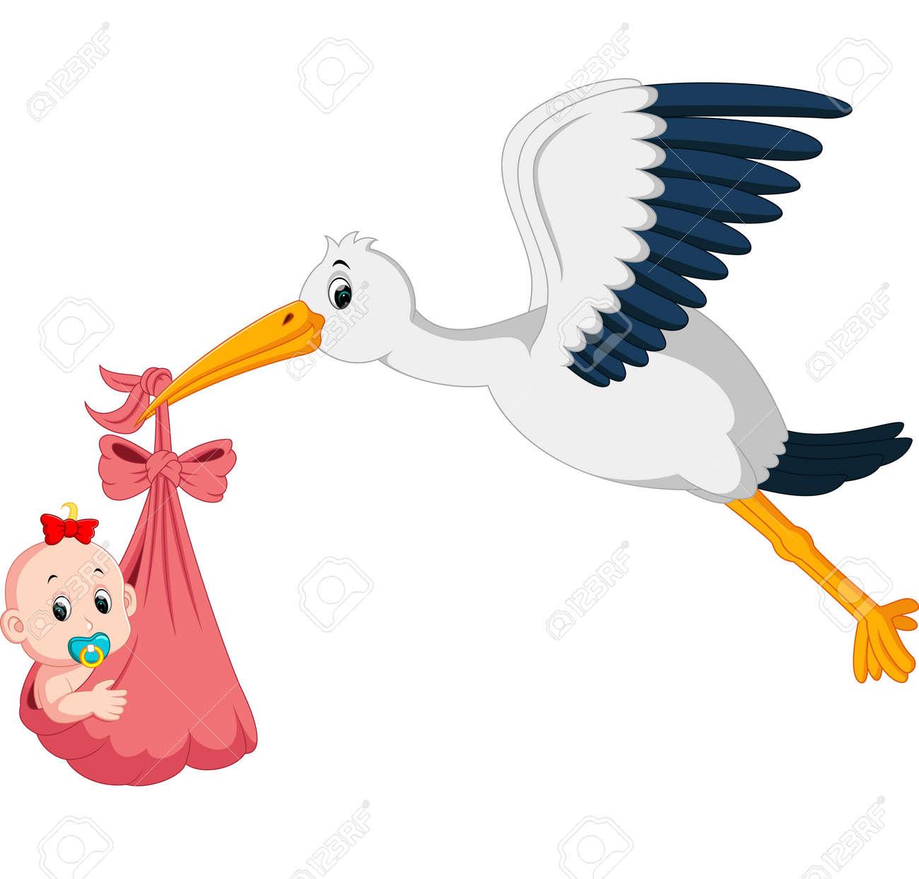 Cigogne Et Bébé cigogne avec la bande dessinée de bébé clip art libres de droits