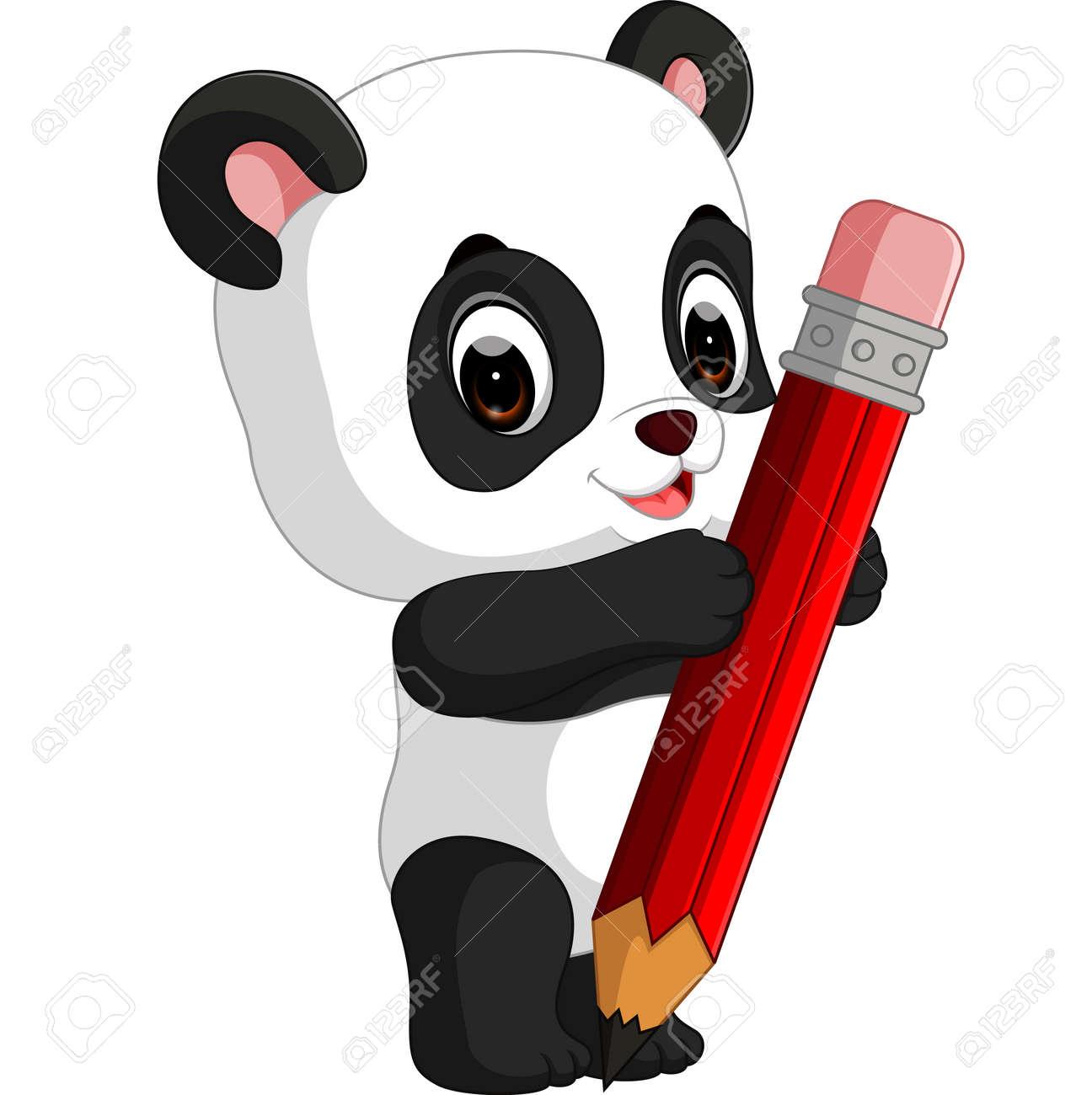 Cute panda cartoon holding pencil - 69149210