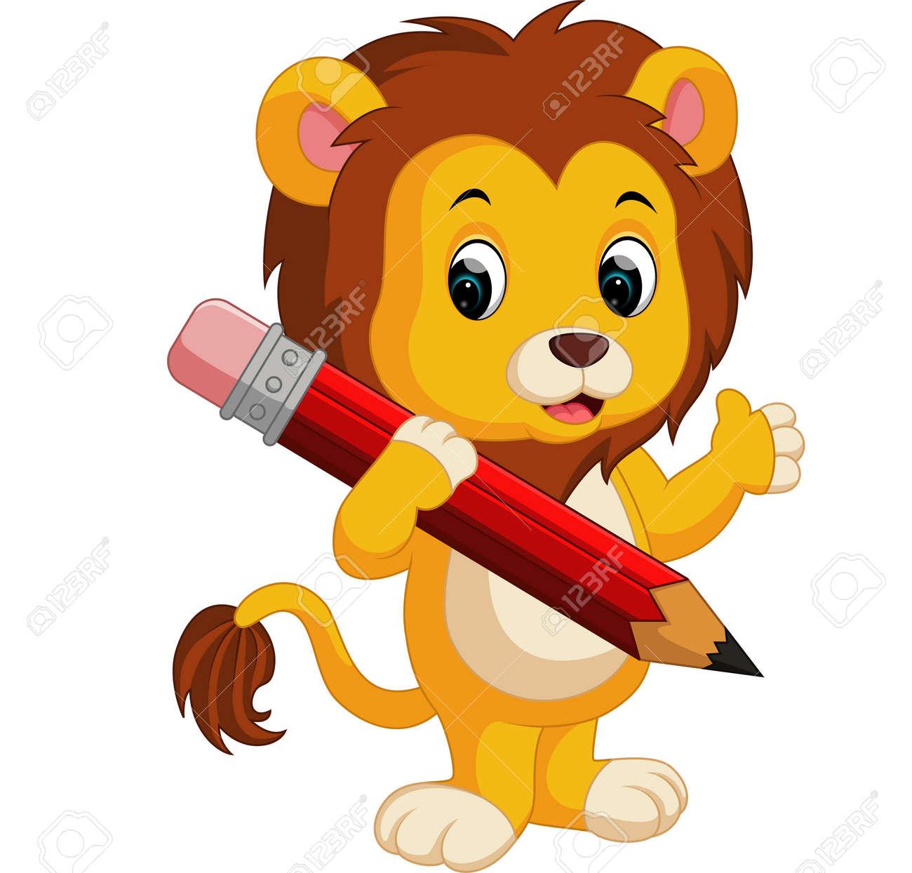 Cute lion cartoon holding pencil - 69696960