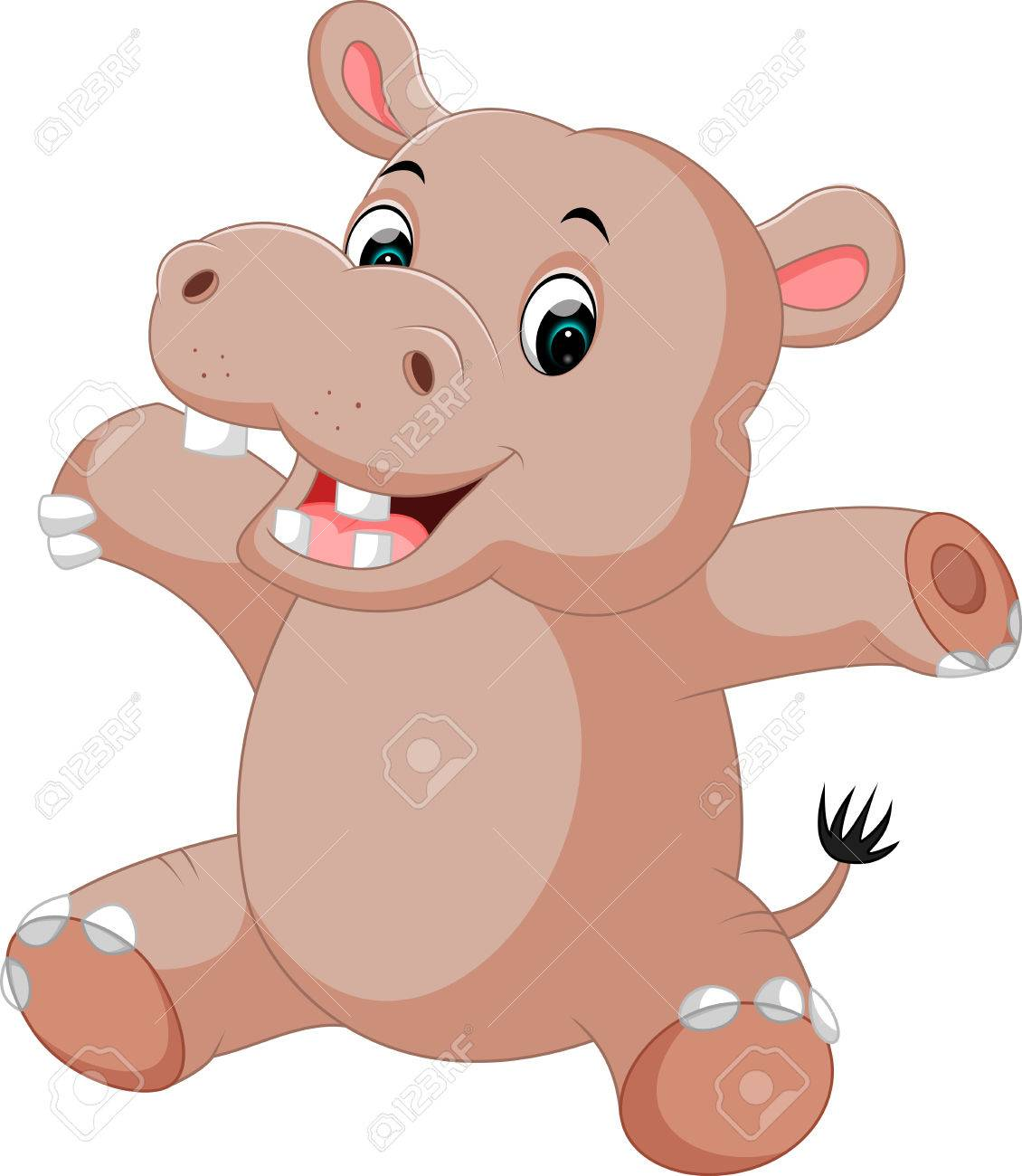 Cute Baby Hippo Cartoon Stock Photo Picture And Royalty Free Image Image 74550132