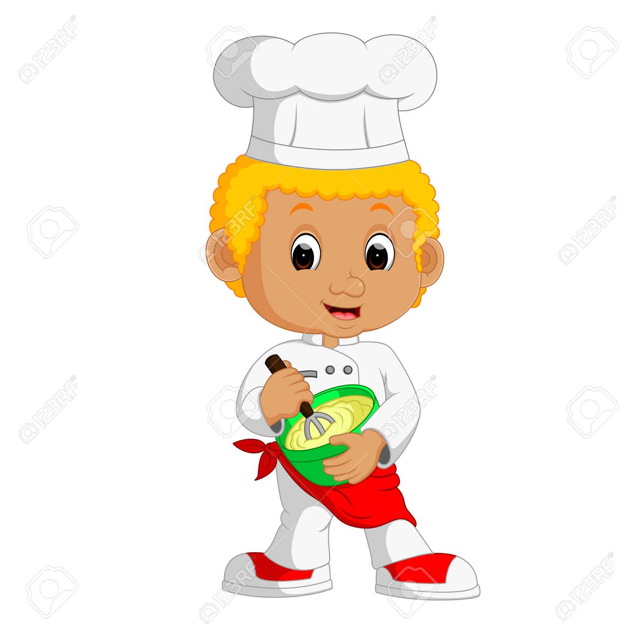 Divertidos Dibujos Animados Niño Toma Chef De La Torta Fotos