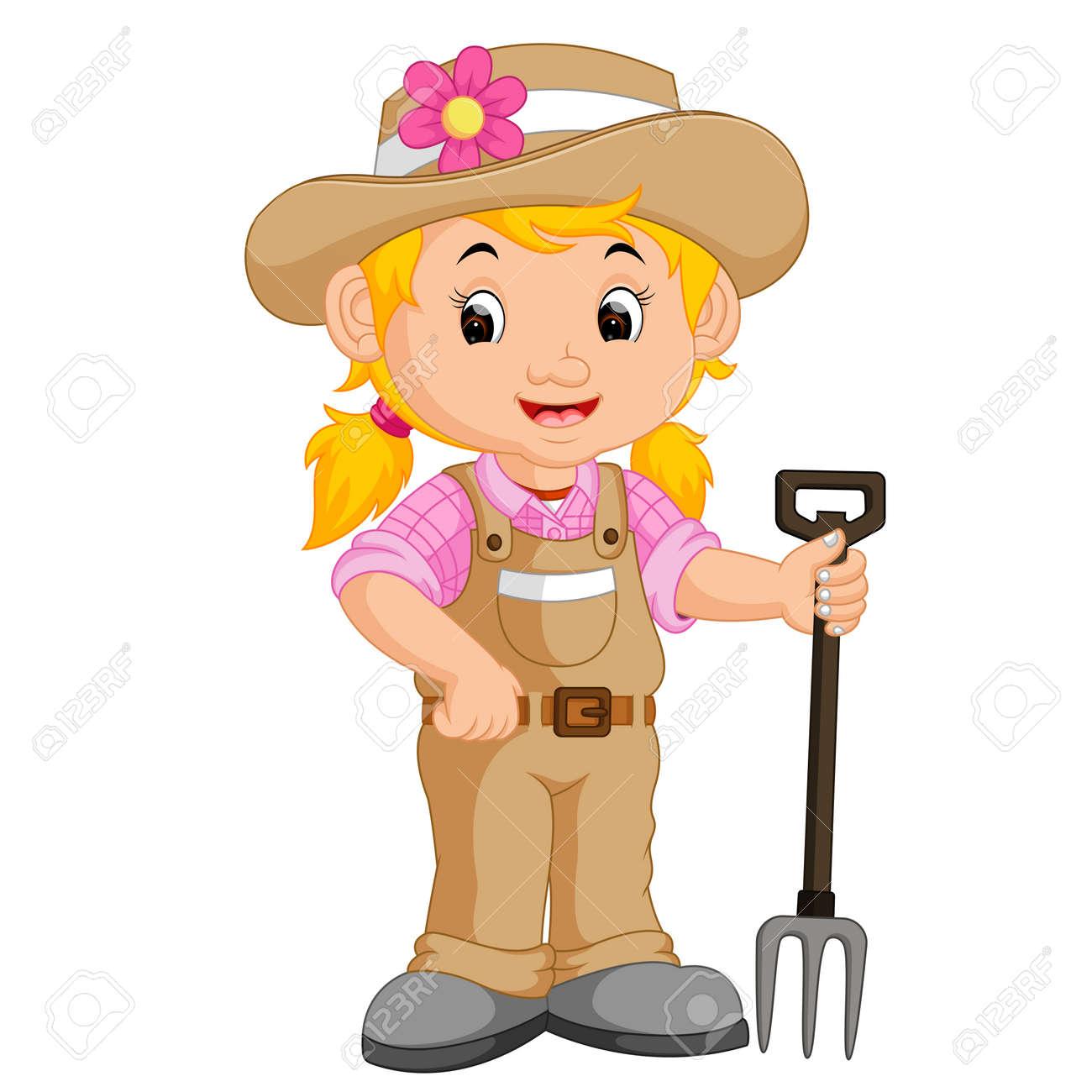 girl farmer cartoon - 73599708