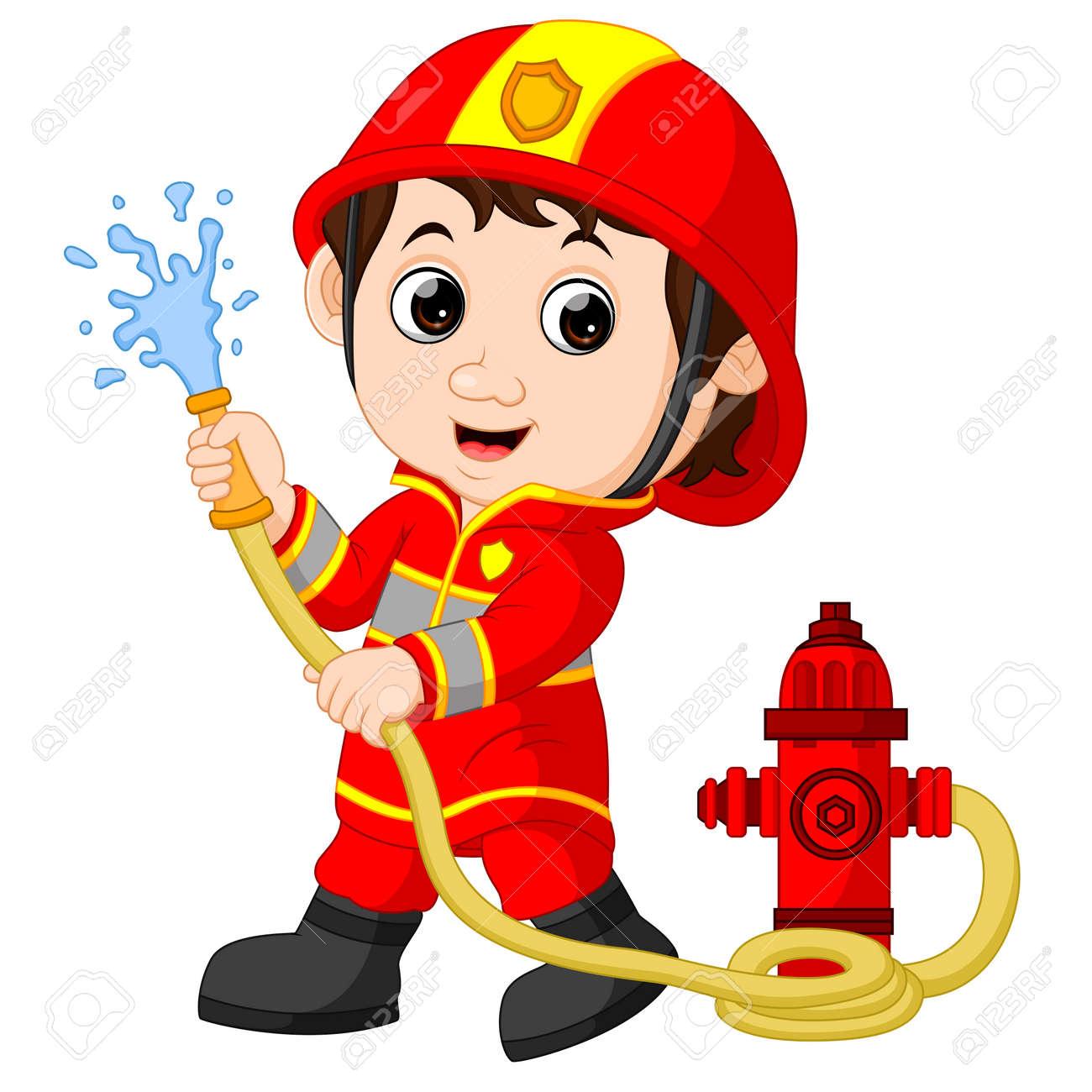 Dessin Pompier dessin animé pompier. clip art libres de droits , vecteurs et
