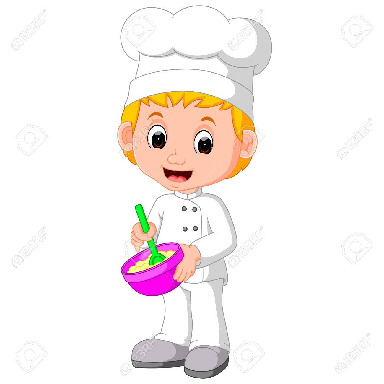 cute chefs make bread - 76848931