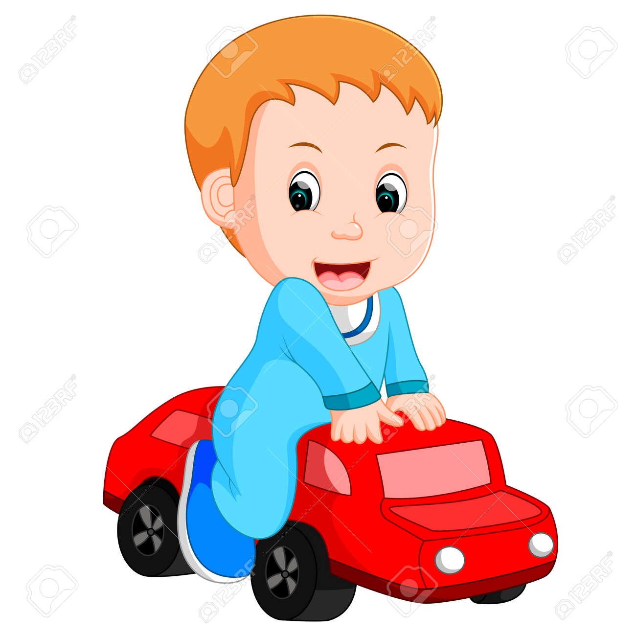 Baby Boy Plays With A Toy Car Royalty Free Cliparts Vectors And
