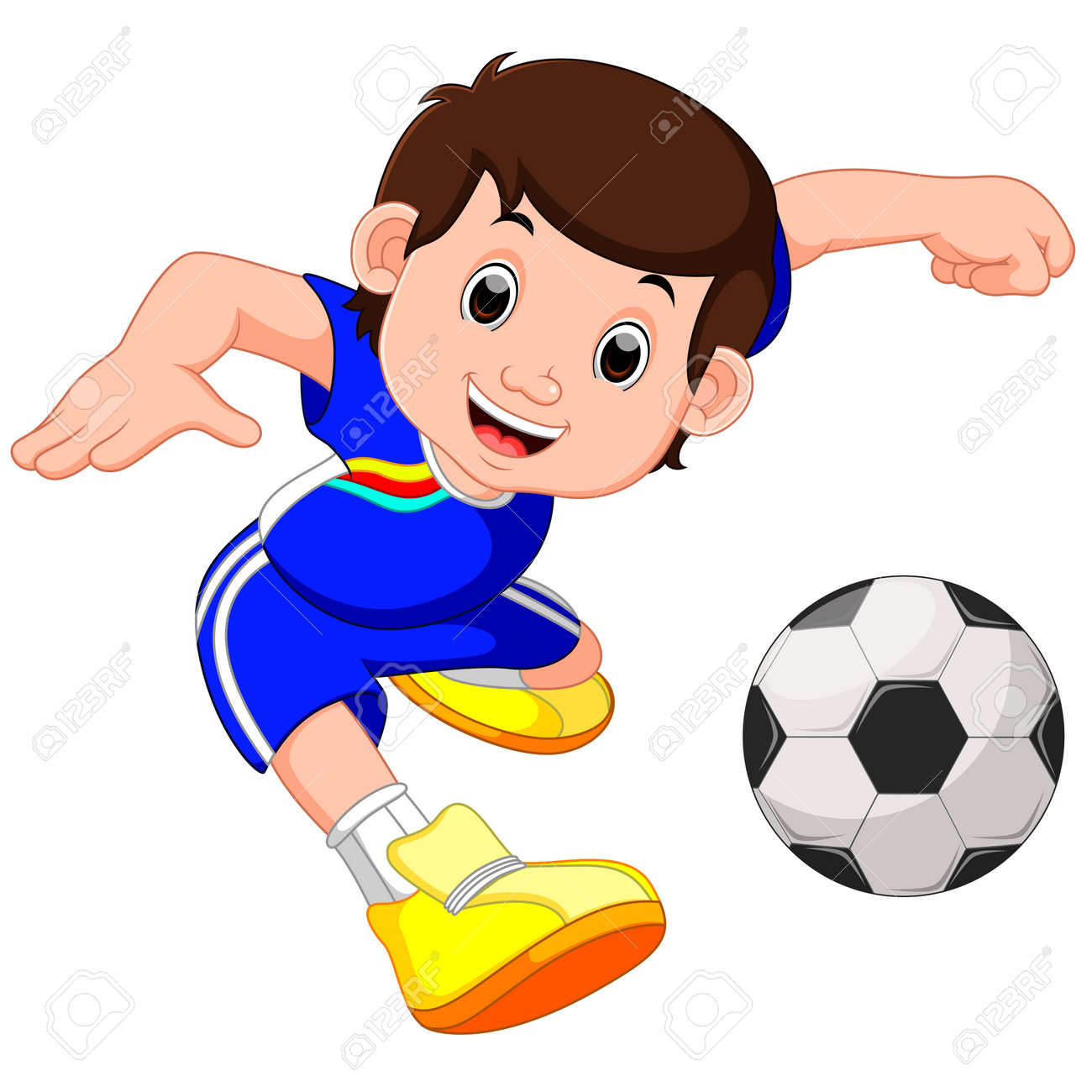 Boy Cartoon Playing Football Stock Photo Picture And Royalty Free Image Image 77463896