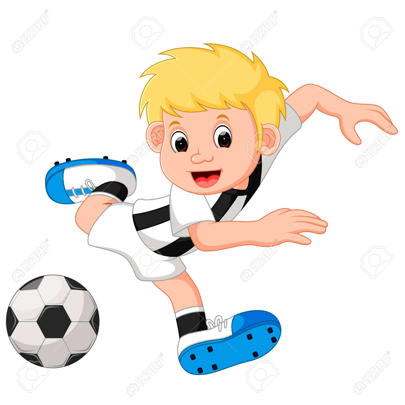 Boy Cartoon Playing Football Stock Photo Picture And Royalty Free Image Image 77463898