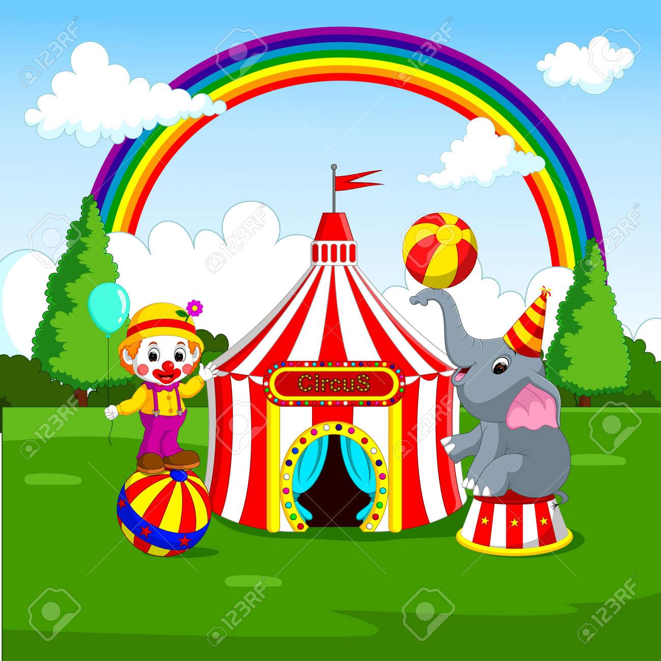 Immagini Stock Elefante E Pagliaccio Del Circo Con La Priorità