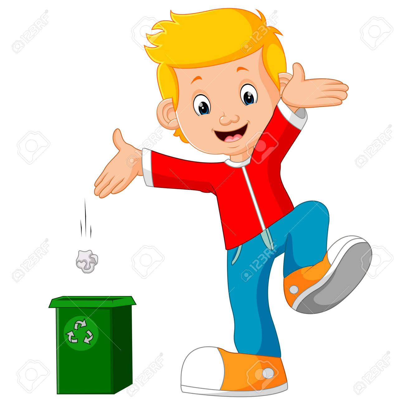 Boy character throws garbage in trash - 78415844