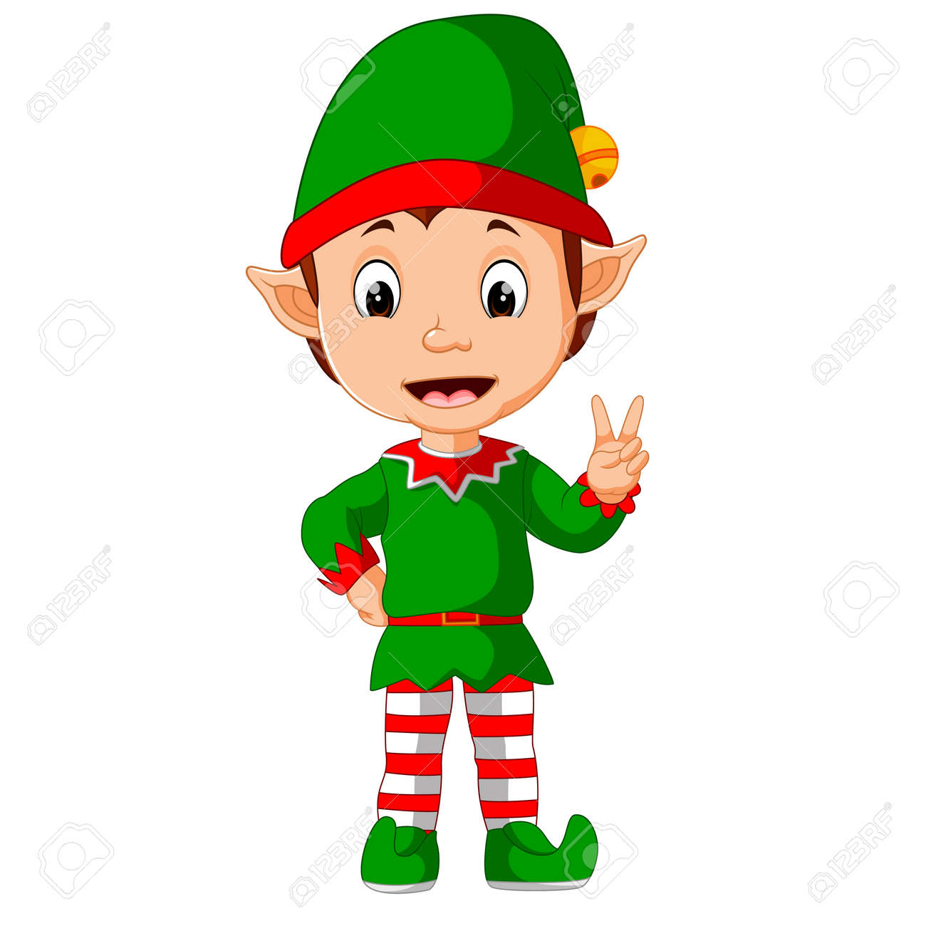 Cute Christmas Pictures.Cute Christmas Elf Cartoon Presenting